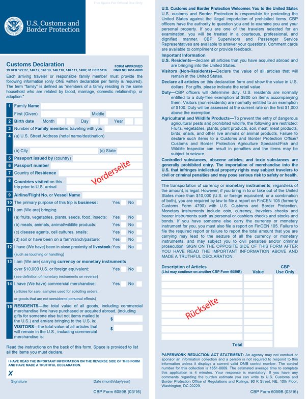 CBP Formular n. 6059B ESTA