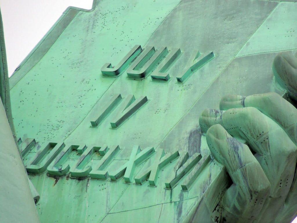 Freiheitsstatue Tafel New York mit Ihrer ESTA USA