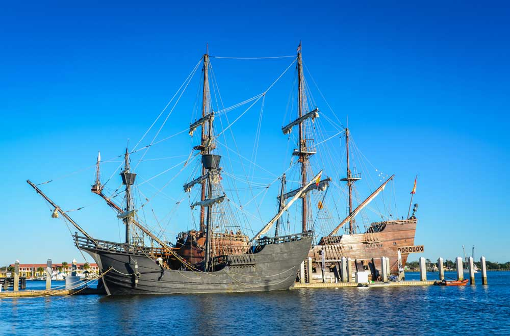 St. Augustine, Florida The Spanish tall ship is an authentic wooden replica of a 16th century galleon