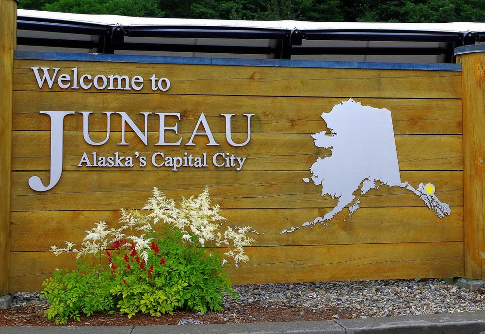 Town sign for Juneau Alasca